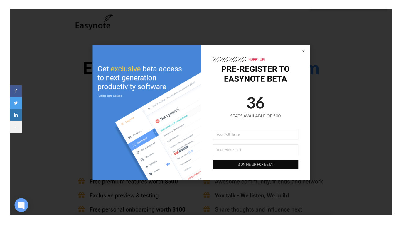 Easynote landing page