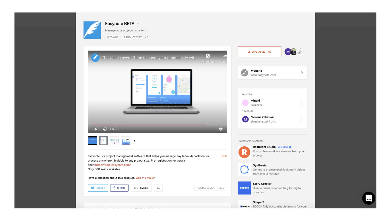 easynote producthunt beta testers